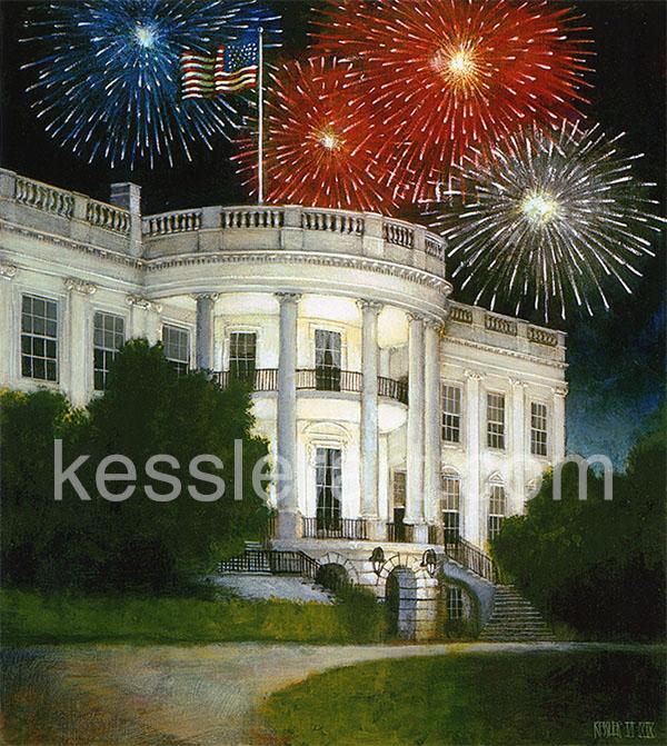 White House with Fireworks   Kessler Art