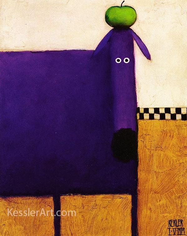 Purple Dog with Apple